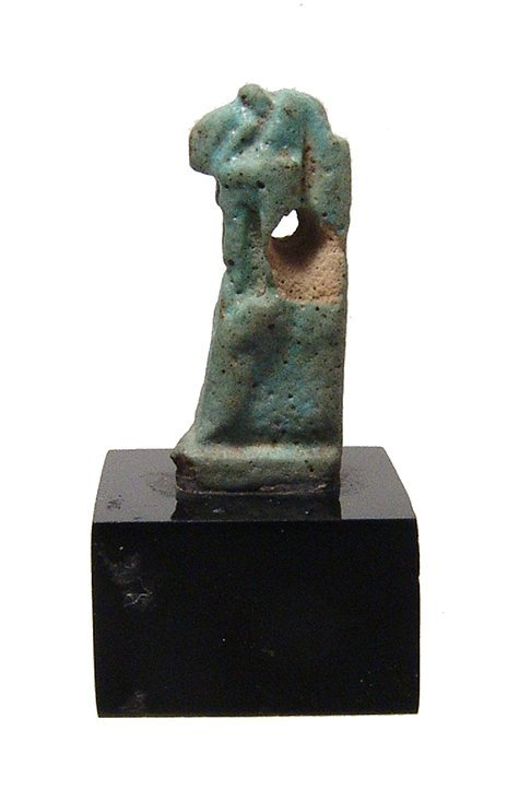 A large Egyptian faience amulet of Thoth, Ptolemaic
