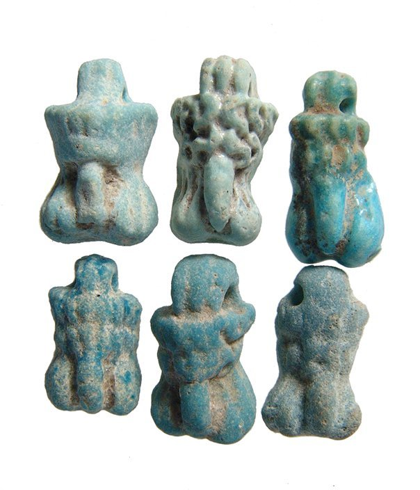 A group of 6 Roman-Egyptian faience phallic amulets