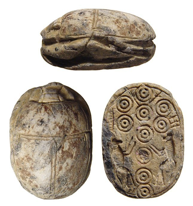 A large early 18th Dynasty Egyptian steatite scarab