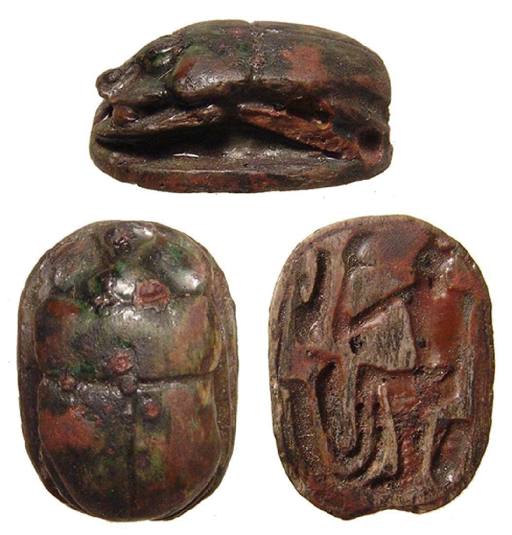 An Egyptian glazed steatite scarab, New Kingdom