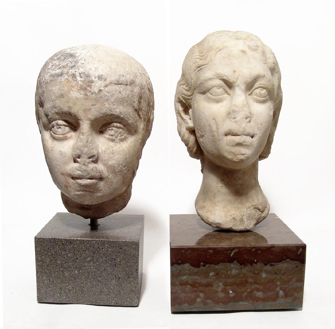 Pair of Roman Imperial portrait heads, Severan Dynasty