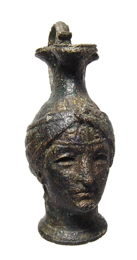 Fantastic Roman bronze olpe in form of a female head