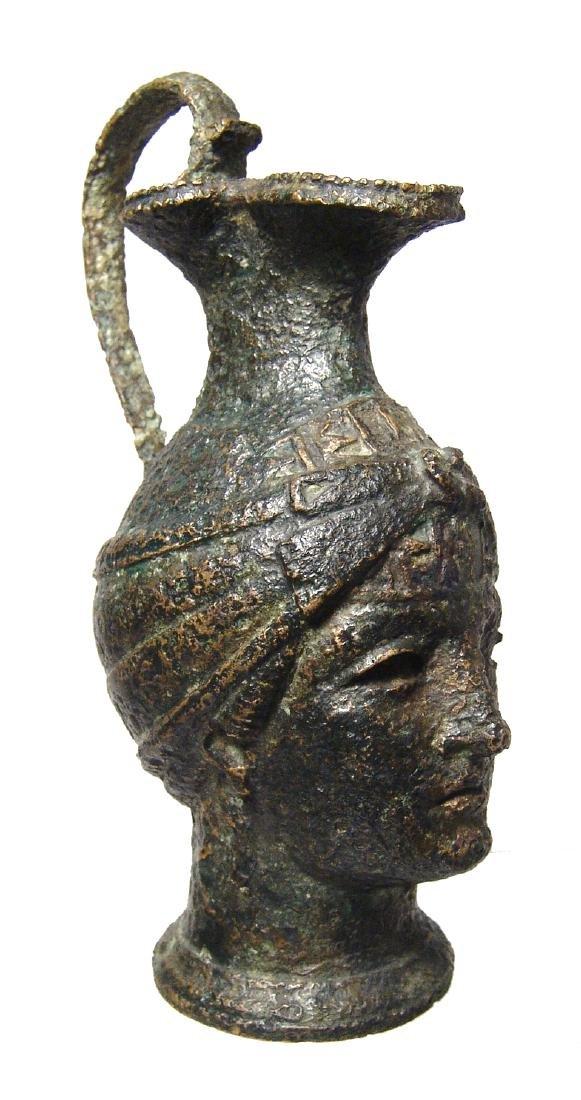 Fantastic Roman bronze olpe in form of a female head - 2