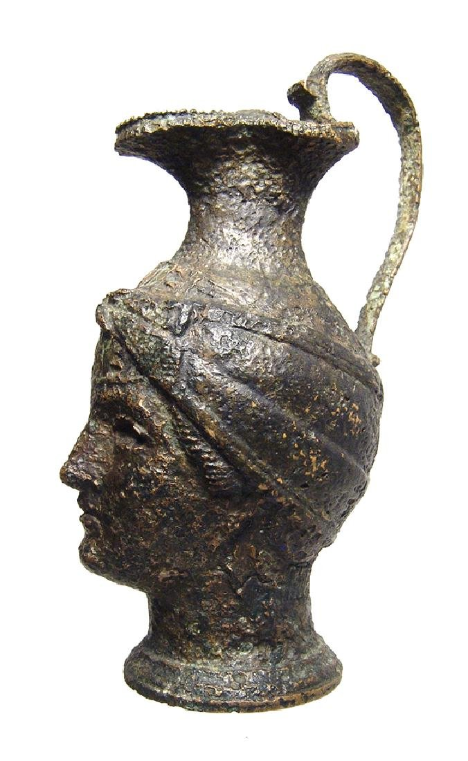 Fantastic Roman bronze olpe in form of a female head - 3