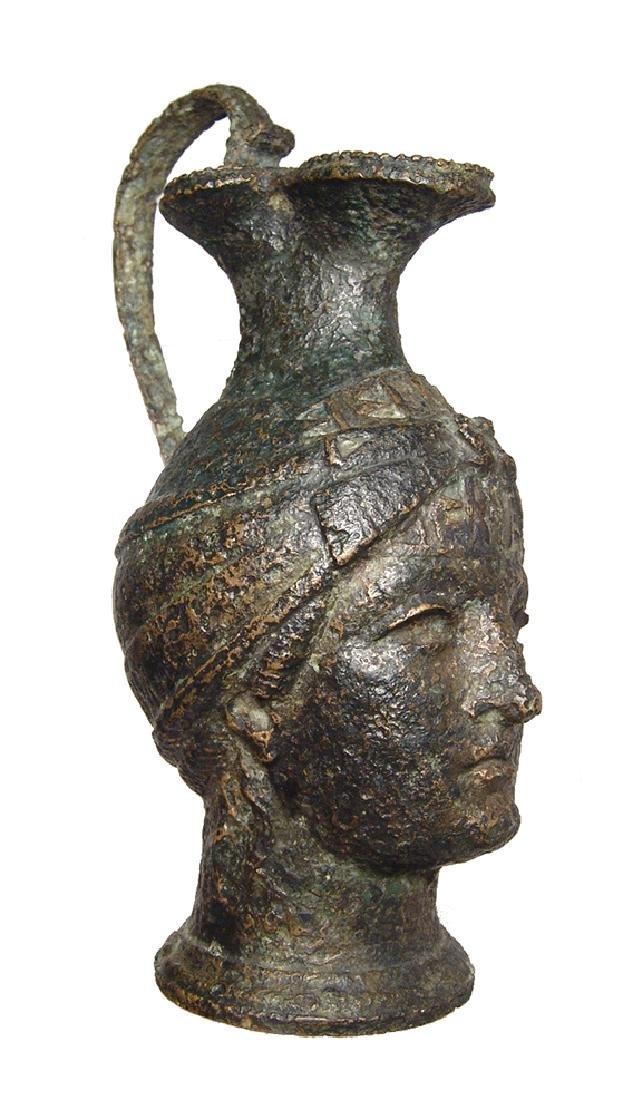 Fantastic Roman bronze olpe in form of a female head - 4