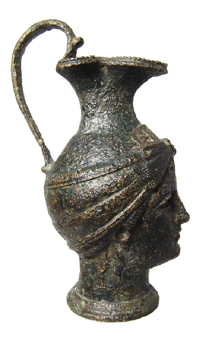 Fantastic Roman bronze olpe in form of a female head - 5