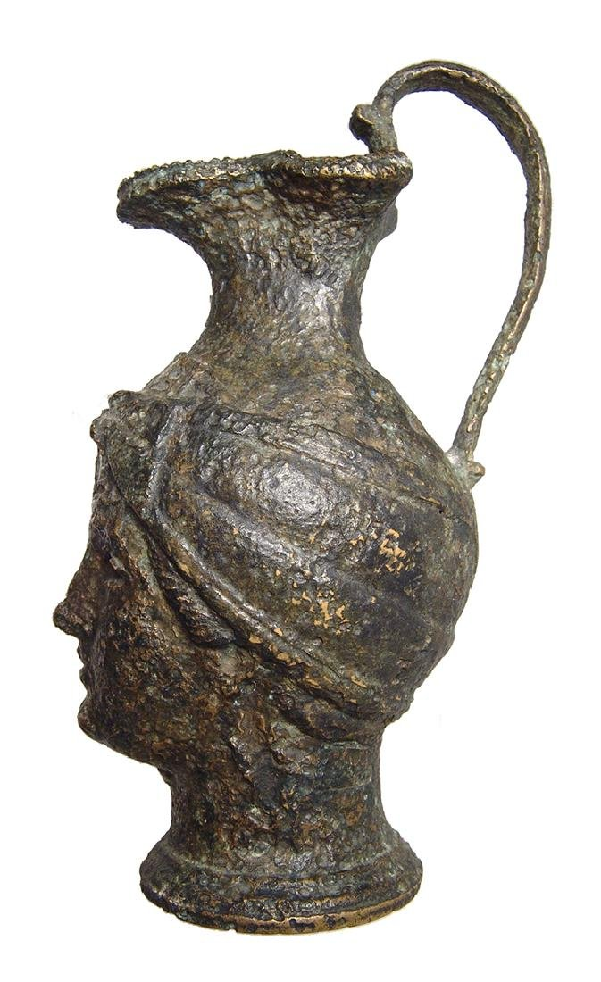 Fantastic Roman bronze olpe in form of a female head - 6