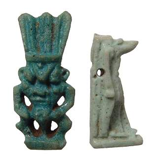 A pair of Egyptian faience amulets - Bes and Anubis