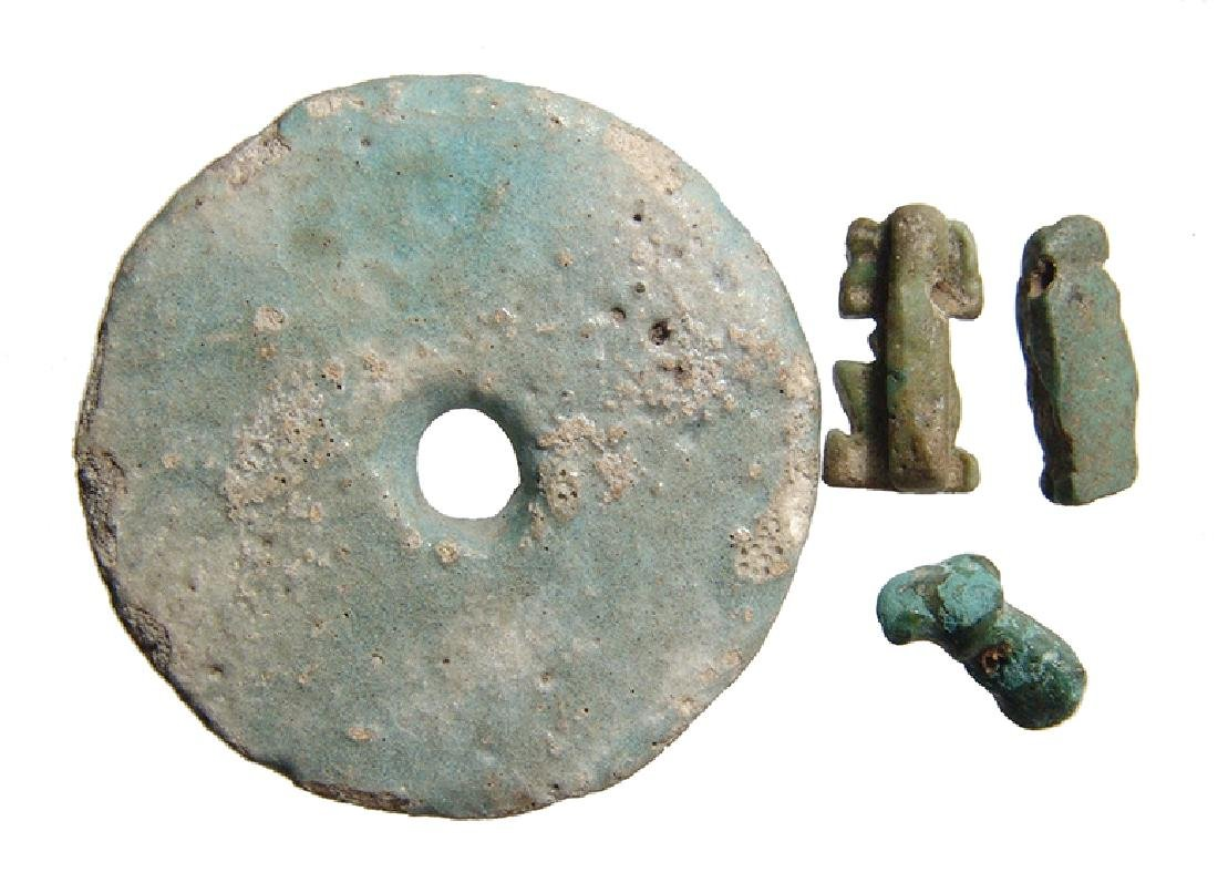 Egyptian faience items and Near Eastern bronze amulet - 2