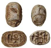 A pair of Egyptian steatite scarabs