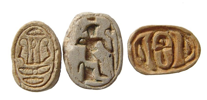 A trio of small Egyptian steatite scarabs