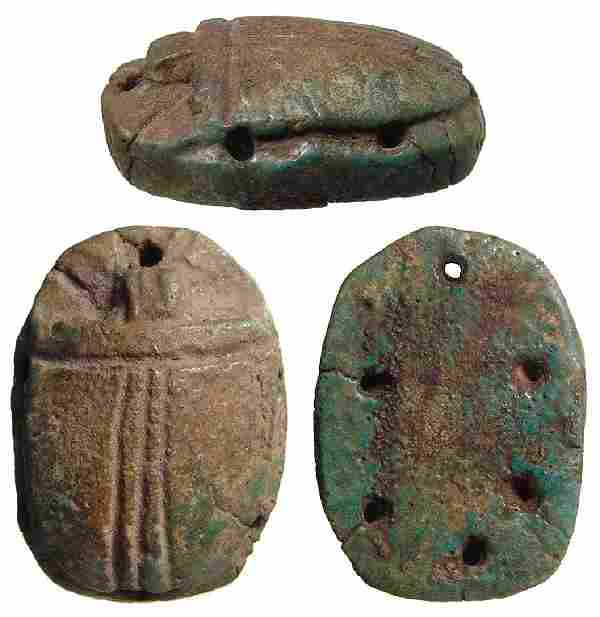 Egyptian faience pectoral scarab Ptolemaic Period