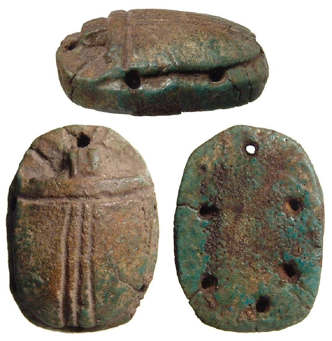 Egyptian faience pectoral scarab, Ptolemaic Period