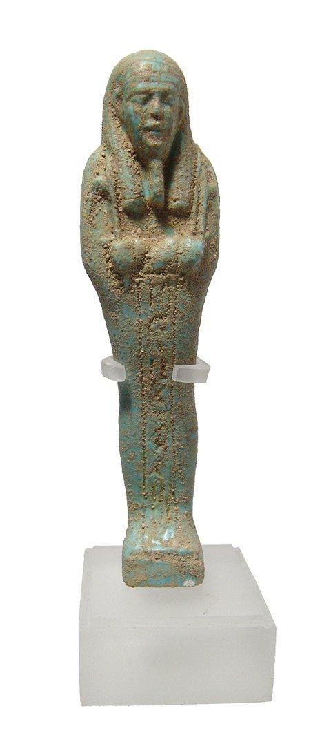 Egyptian pale blue-green faience ushabti, Late Period