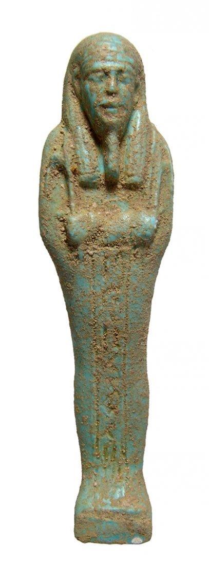Egyptian pale blue-green faience ushabti, Late Period - 2