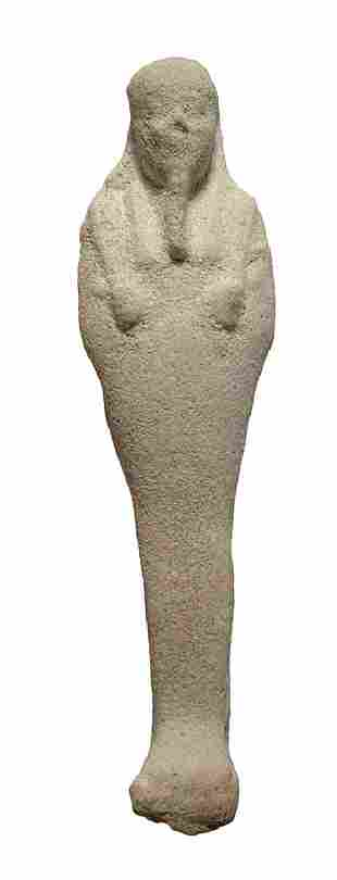 Egyptian white faience ushabti, Late Period
