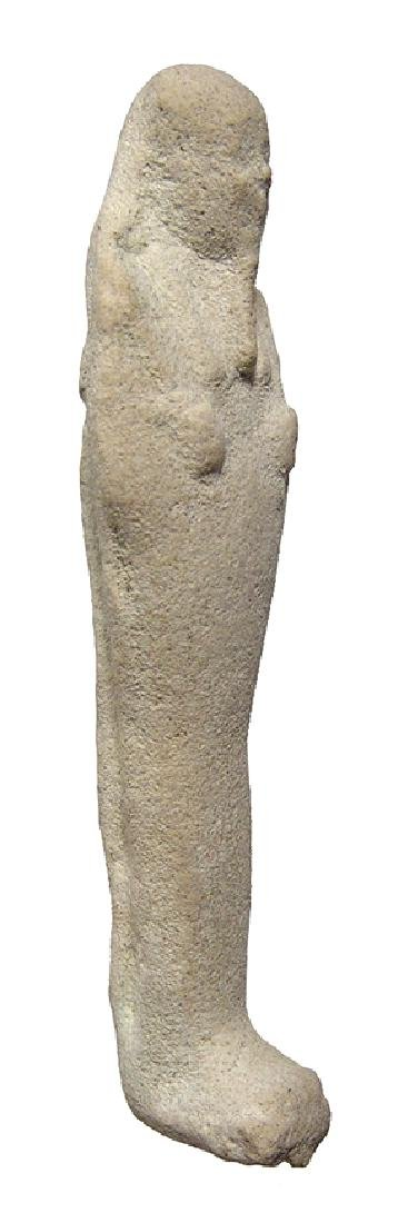 Egyptian white faience ushabti, Late Period - 2
