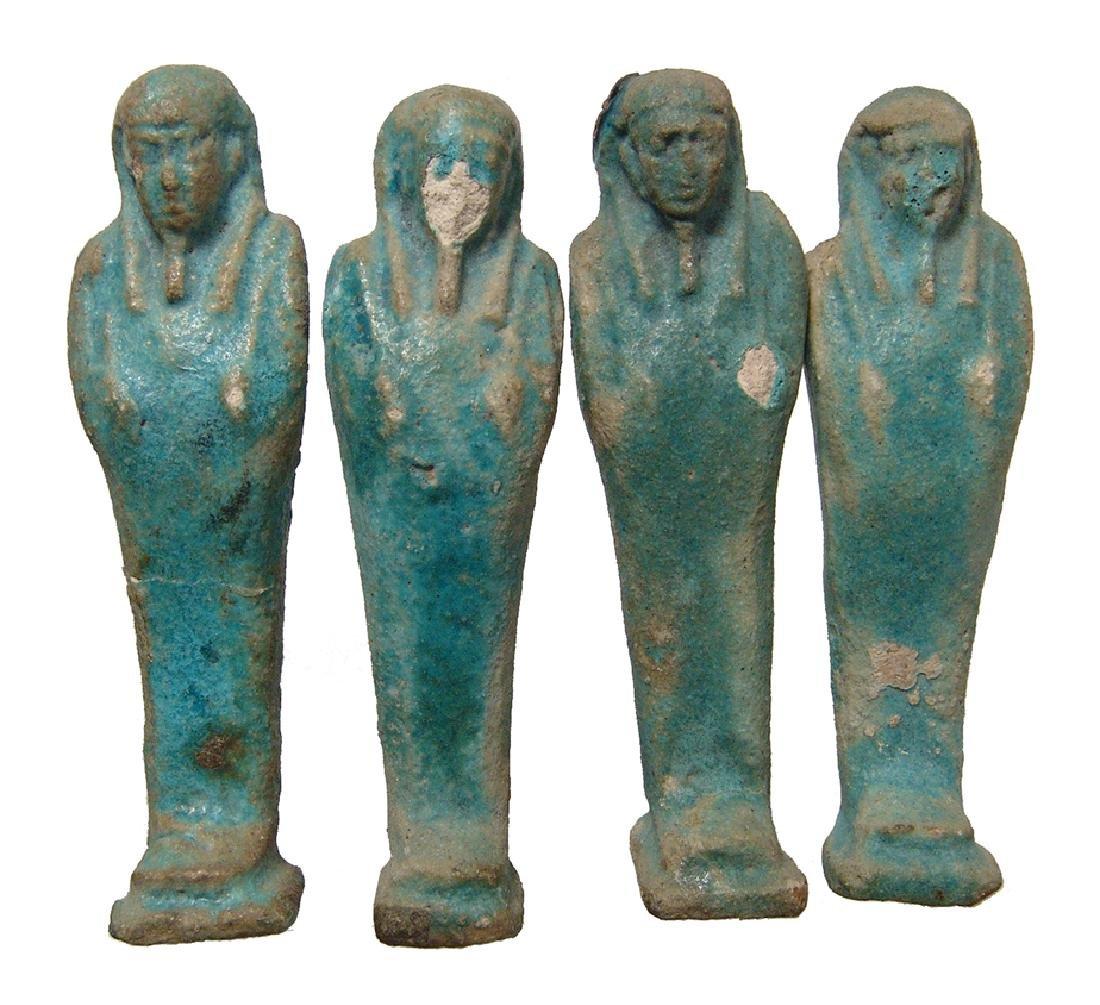 Group of 4 Egyptian blue glazed faience ushabtis