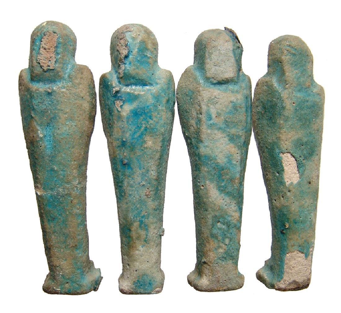 Group of 4 Egyptian blue glazed faience ushabtis - 2