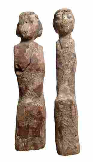 A pair of Egyptian wood figures Middle Kingdom