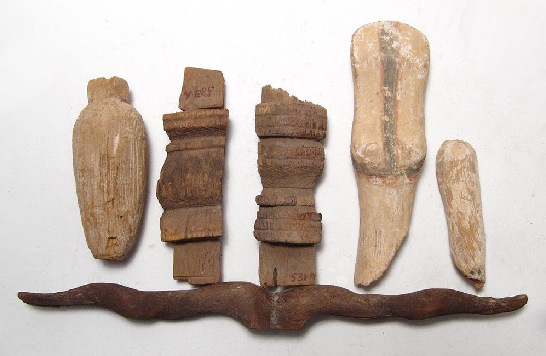 A group of Egyptian wood objects, Late Period