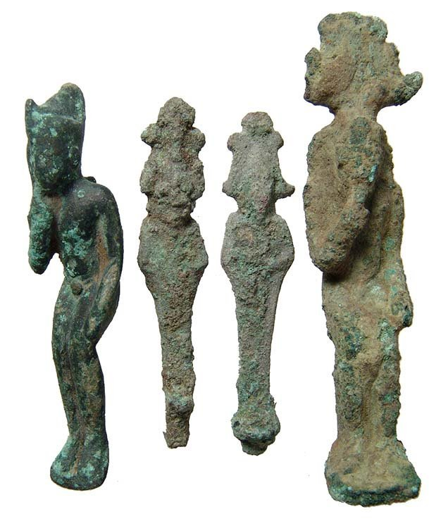 A group of 4 Egyptian bronze figurines, Late Period