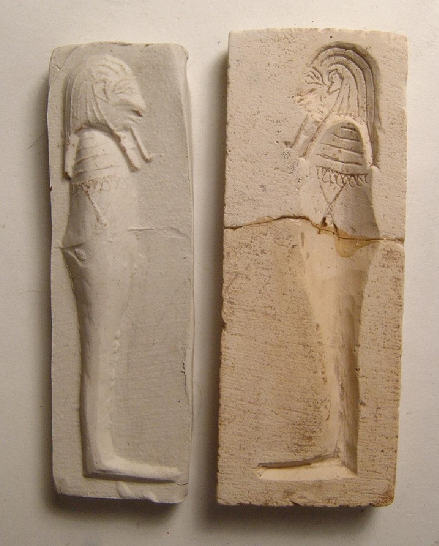 Egyptian limestone mold for a 'Sons of Horus' amulet