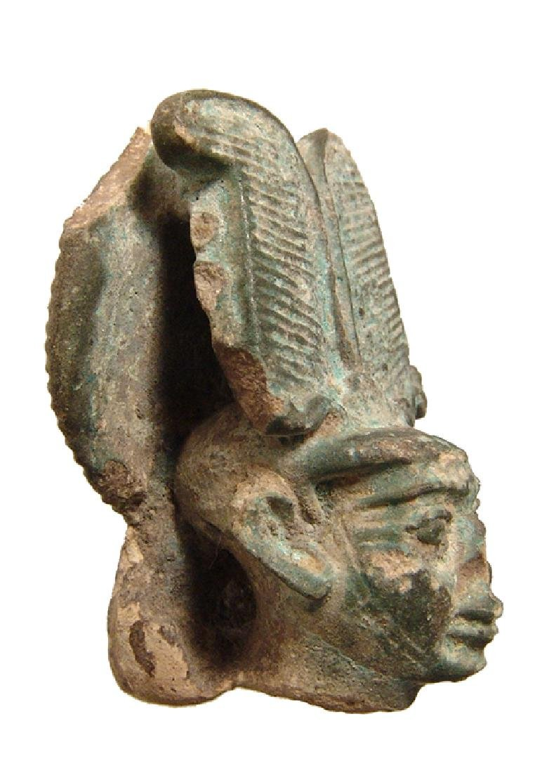 A large Egyptian faience head from a figure of Ptah - 2