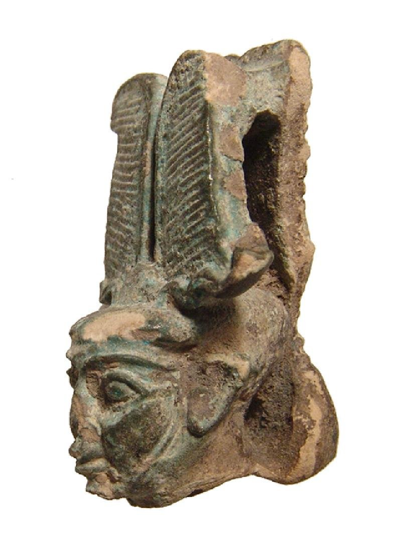 A large Egyptian faience head from a figure of Ptah - 4