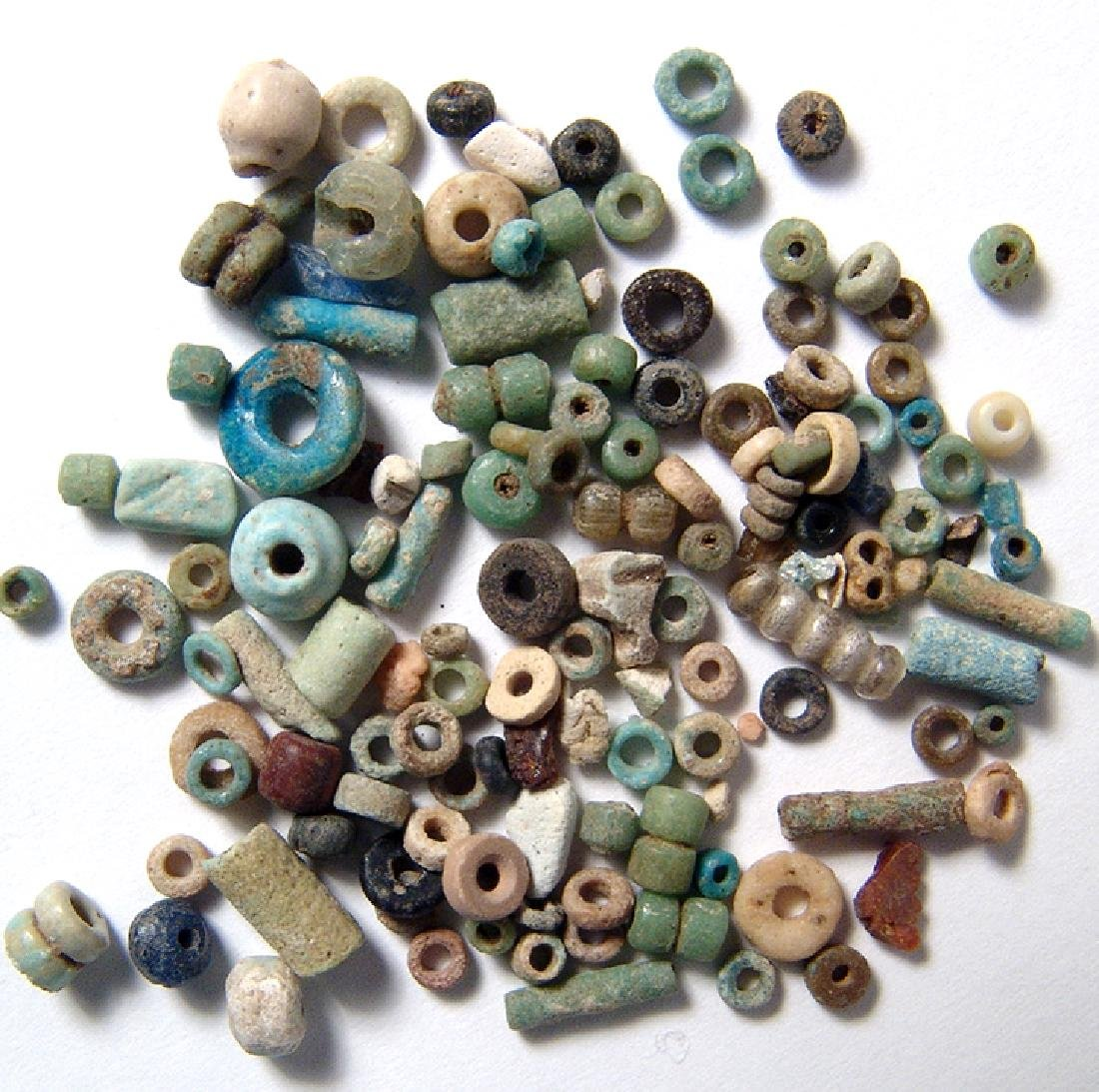Group of 100 Egyptian multi-colored faience beads