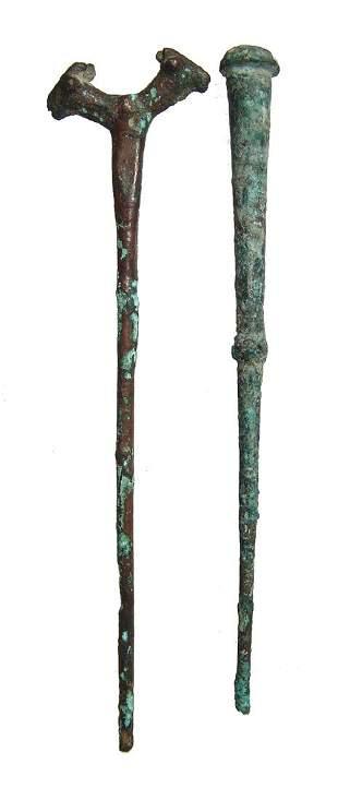A pair of Near Eastern bronze pins