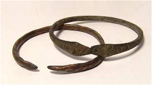 A pair of Western Asiatic bronze bracelets