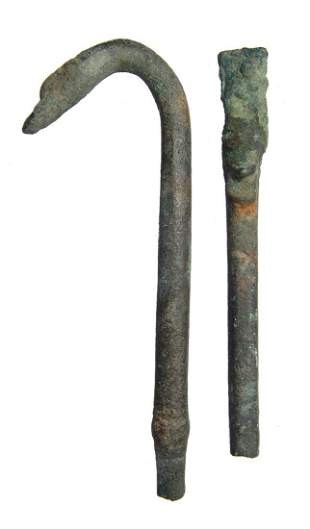 A pair of Roman bronze objects