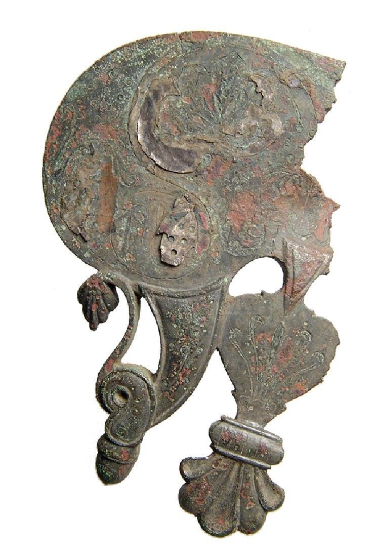 An attractive Roman silver inlaid bronze ornament