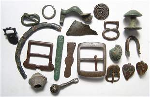 A mixed group of bronze and lead objects