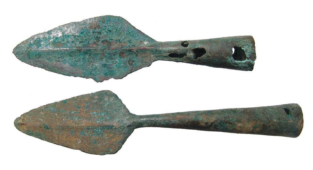 Chinese bronze spear points, Late Warring States - Qin - 2