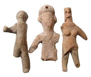 A group of 3 ancient terracotta figurines