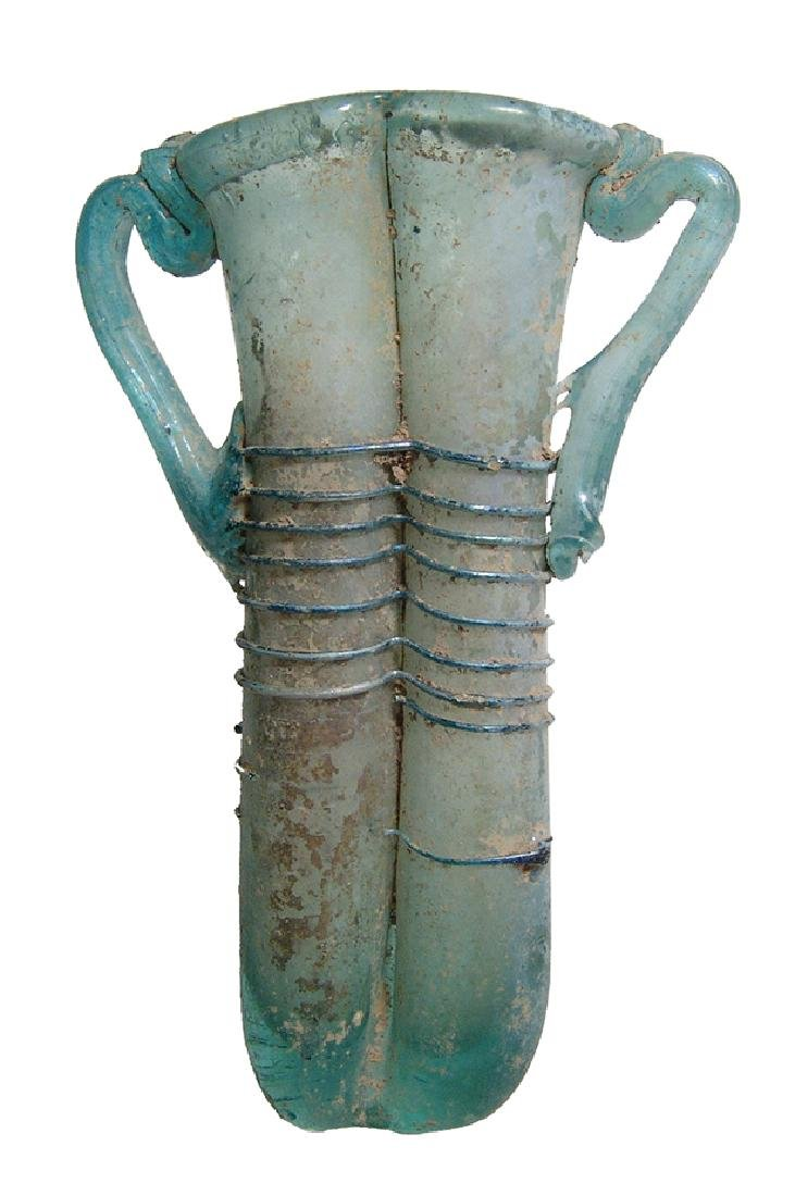 A beautiful Roman blue glass double unguentarium - 2