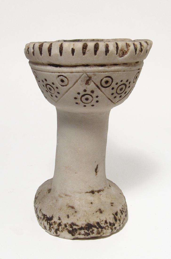 A beautiful Islamic alabaster oil lamp - 4