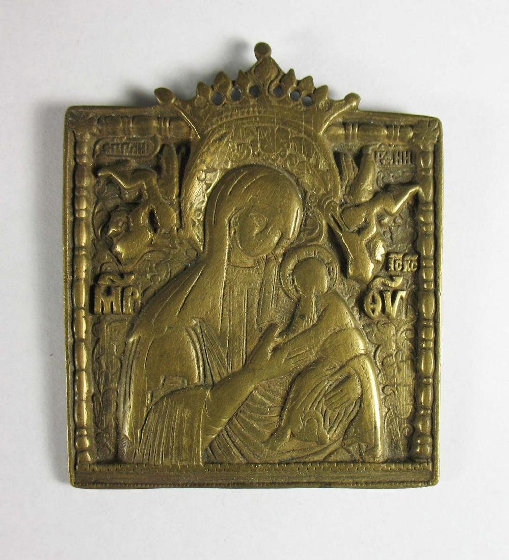 Russian cast brass portable icon of the Holy Mother