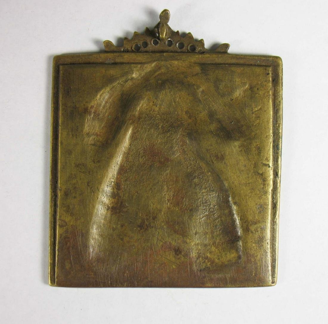 Russian cast brass portable icon of the Holy Mother - 2