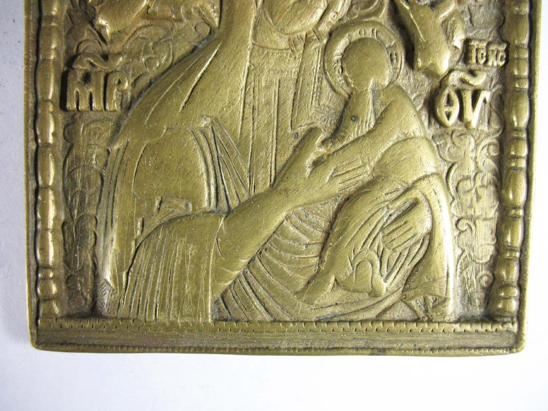 Russian cast brass portable icon of the Holy Mother - 4
