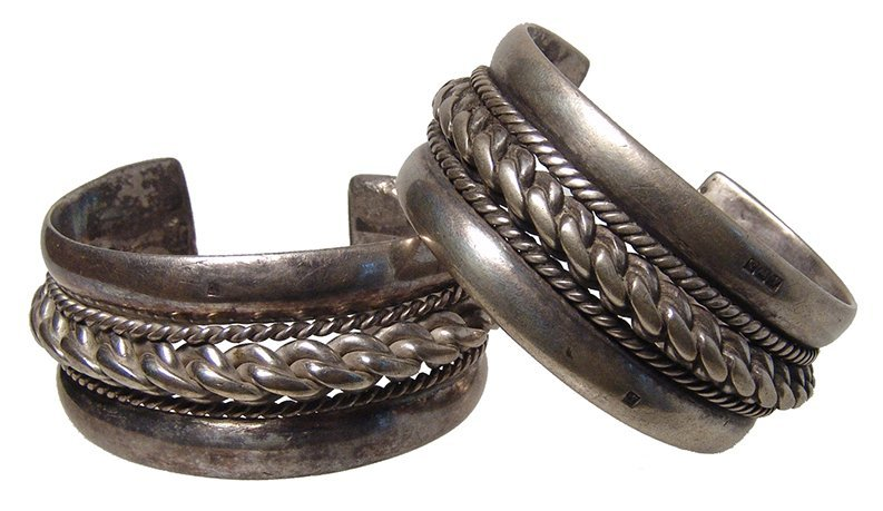 A pair of antique silver bracelets, Holy Land