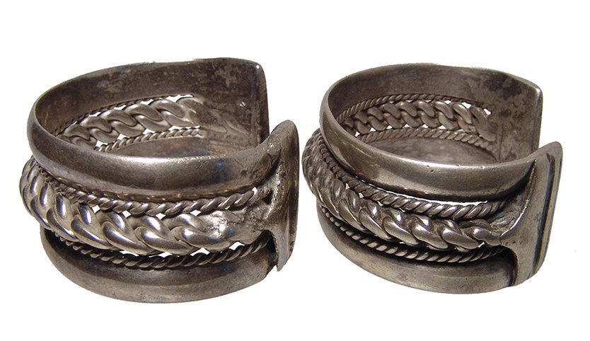 A pair of antique silver bracelets, Holy Land - 3
