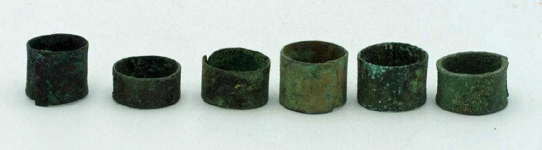 A group of 6 Pre-Columbian copper rings