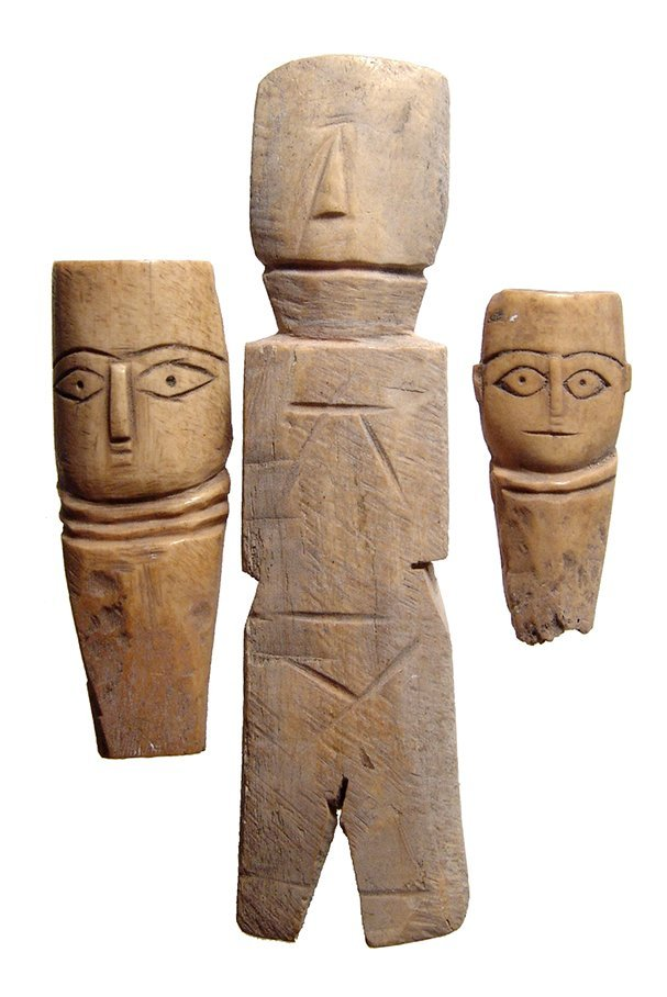 A lot of 3 Coptic bone dolls, Roman/Byzantine Egypt