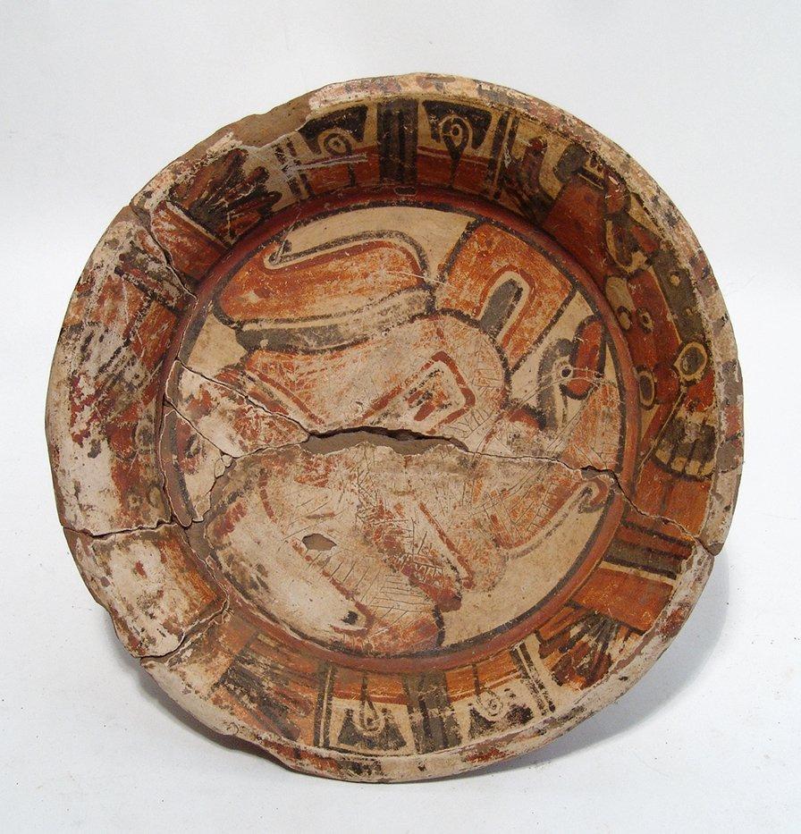 A nice Maya polychrome tripod bowl