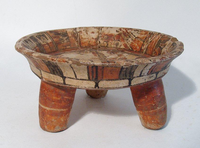 A nice Maya polychrome tripod bowl - 2