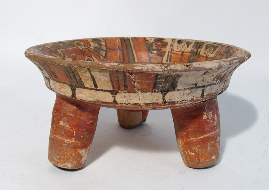 A nice Maya polychrome tripod bowl - 3