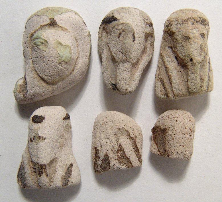 A lot of 6 Egyptian faience ushabti heads